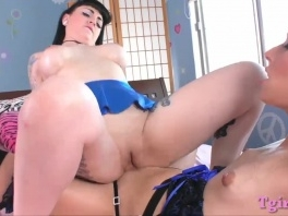 Busty ho wears strapon and fucks tranny in her asshole picture slut