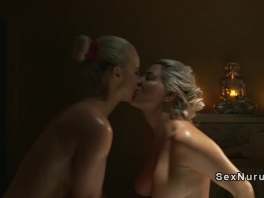Busty lesbians tribbing in massage room picture slut