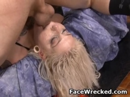 Blonde Tattooed Dirtbag Getting Her face Pummeled By Two Dicks picture slut
