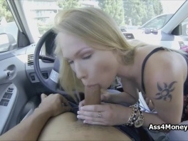Barista blows in public parking lot at day picture slut
