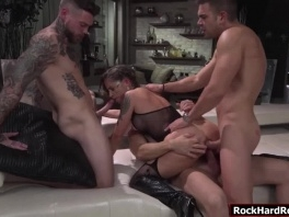 Three big cocks fucked Malenas tight ass and wet pussy picture slut