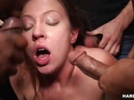 Extreme wild  gangbang for Redhead picture slut