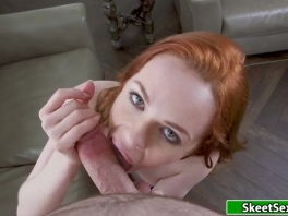 Redhead Ella gives stranger a blowjob for a free ride picture slut