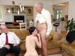 Teen Alex Harper Blows Rich Old Guys For Some Cash picture slut