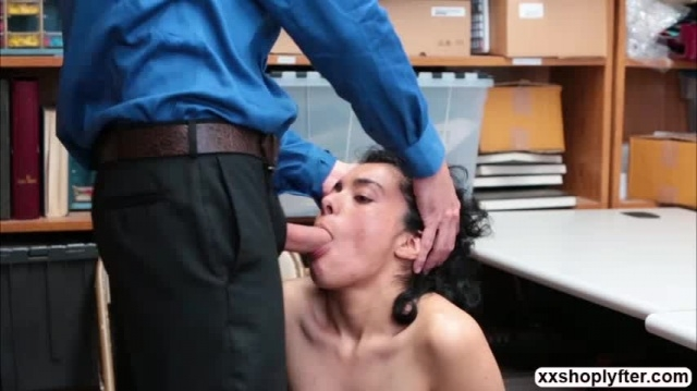 Shoplifter Teen Maya Morena gets her mouth and pussy fuck picture slut