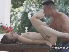 Deep anal with fantastic brunette on the patio picture slut