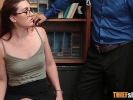 Teen thief wearing glasses fucked by LP officer on CCTV picture slut
