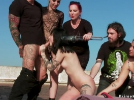 Tied up slut banged outdoor in group picture slut