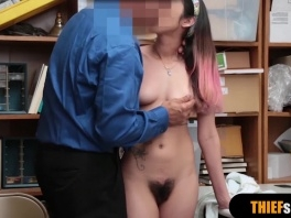 Brunette chick gets rough fucked from behind on CCTV picture slut