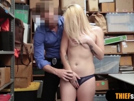 Cute blonde shoplifter pays with pussy for the mall cop picture slut