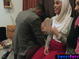 Muslim teen bride and arabian BFFs use a BBC stripper picture slut