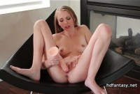Horny blonde masturbates and gets fucked