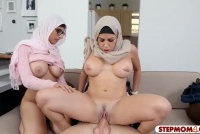 Two busty Arab ladies shared on lucky man meat on the couch