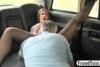Busty and big arse passenger gets banged by fake driver picture slut