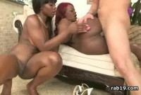 Ebony cuties get their cunts railed by a white cock
