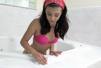 Pornstar Gina Valentina gets naked and cleans the bathtub
