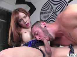 Petite Busty Asian TS Plam let dude cum in her foot picture slut