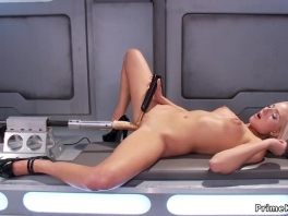Busty long legged blonde rides machines picture slut